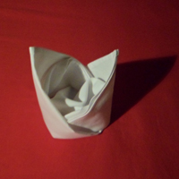 how to fold napkins - Bishops Hat napkin fold completed version.
