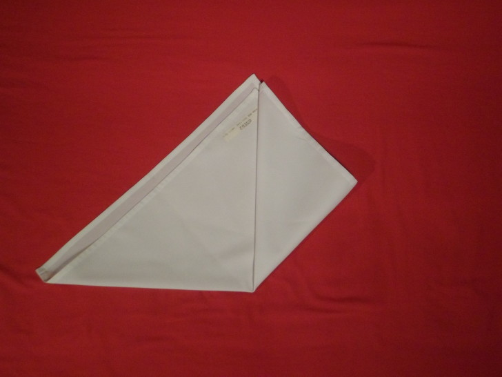Napkin Origami The Cone Fold Step fold the bottom right corner up to the top so it sits flush with the top of your triangle.