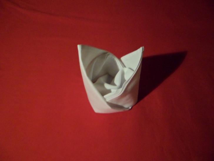Napkin Folding Bishops Hat completed napkin fold