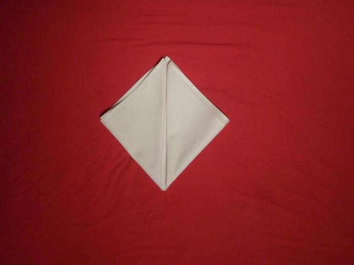 Fancy Napkin Folding Techniques   Rosebud Fold Step Five fold the left corner up to the centre making the napkin look like a diamond.