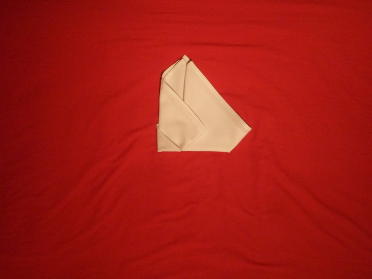 Fancy Napkin Folding Techniques   Rosebud Fold Step Eight  Fold the right corner over about two thirds of the way.