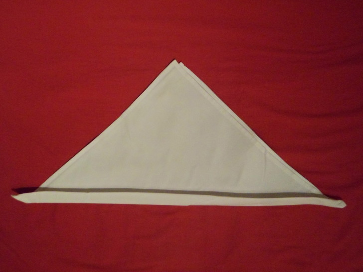 Free Napkin Folding Instructions Candle Fold Step Three Fold the bottom edge back on its self about an inch