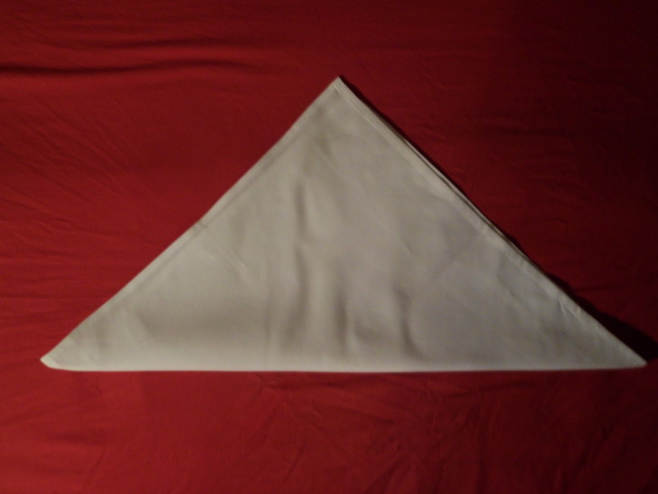 Folded Napkin Pyramid Fold Step Four position the napkin in front of you so the longest edge is facing you and the point of the triangle is aimed away.