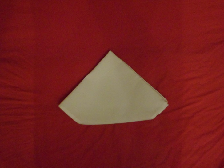 Napkin Origami The Diamond Fold Step Eight Flip the entire napkin over so you are looking at the back of it.