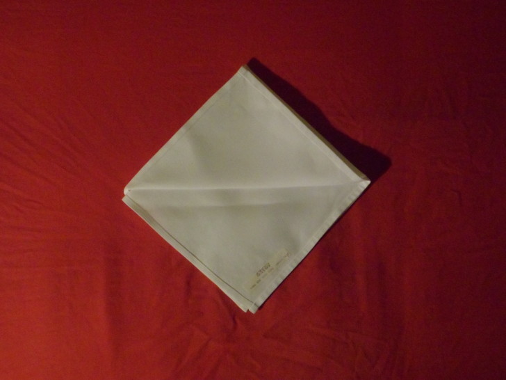 Napkin Origami The Diamond Fold Step four making sure the lose ends are all facing towards you fold the top flap back on its self so its flush with the top