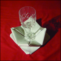 beautiful napkin fold the rose fold completed with wine glass